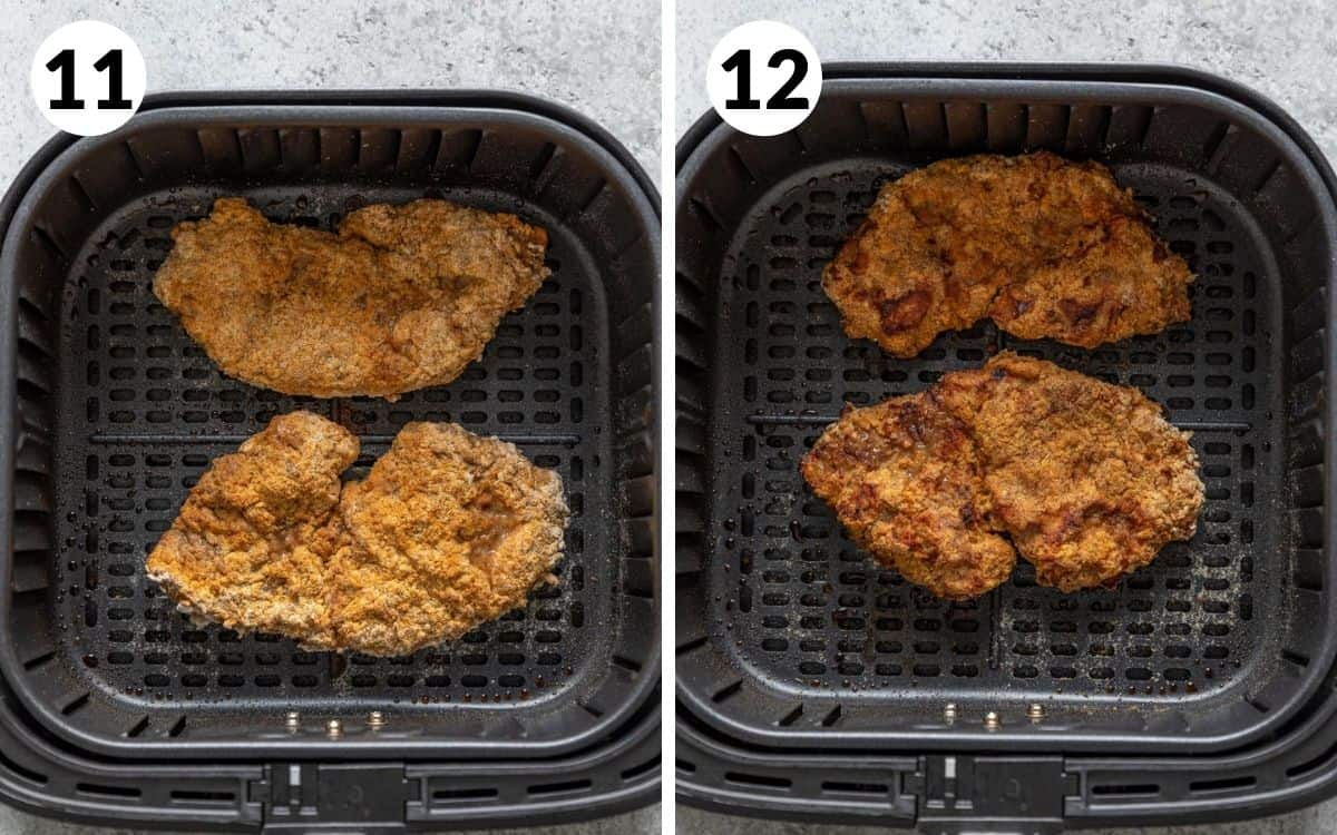 steps 11 & 12 steaks halfway through cooking golden brown steaks in air fryer