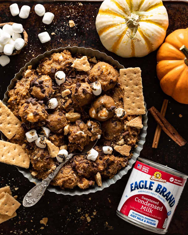 overhead of edible pumpkin cookie dough in a tray