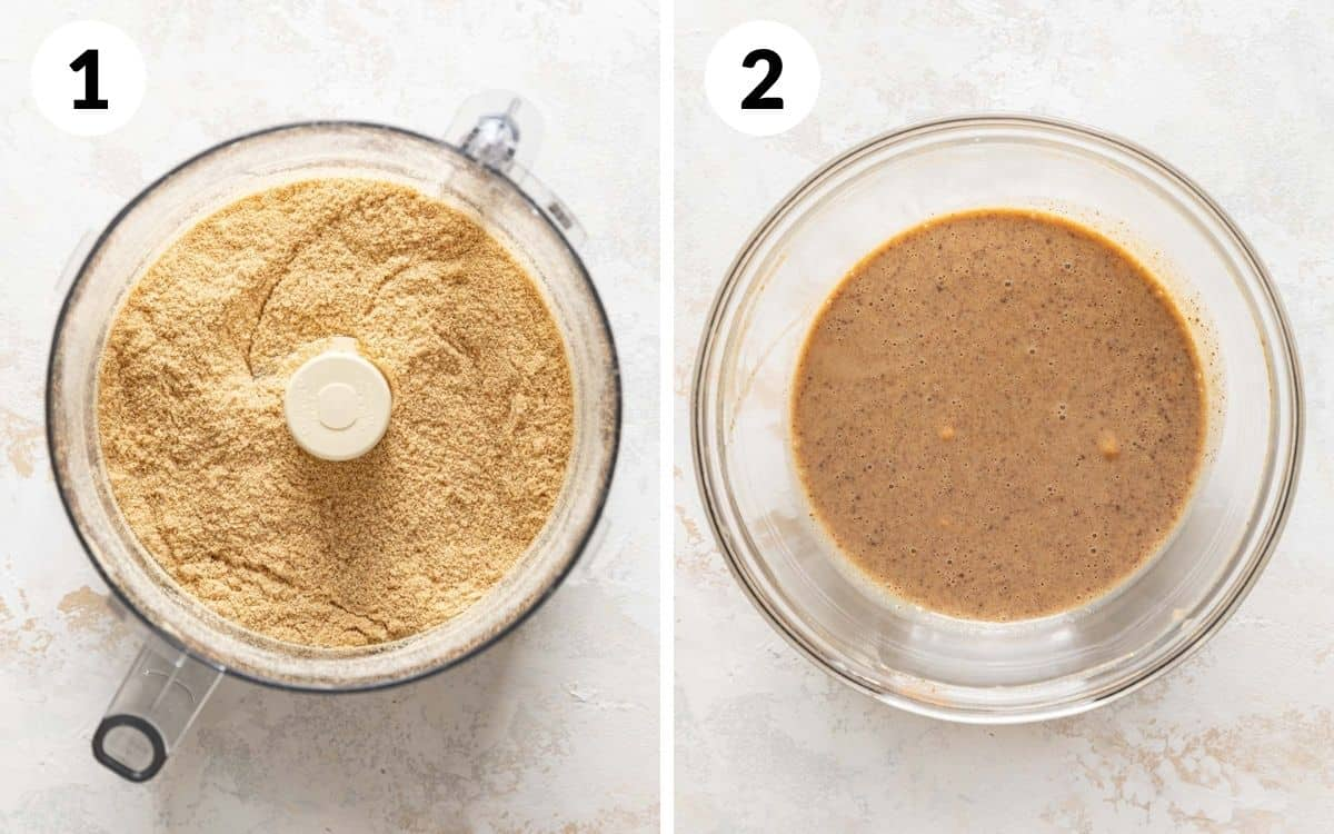 steps 1 & 2 graham cracker pulsed in food processor bowl wet ingredients mixed together in bowl
