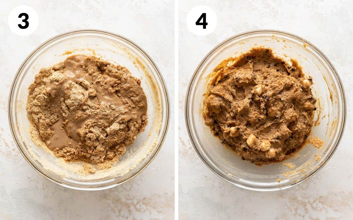 steps 3 & 4 graham crackers halfway mixed all ingredients mixed in a bowl