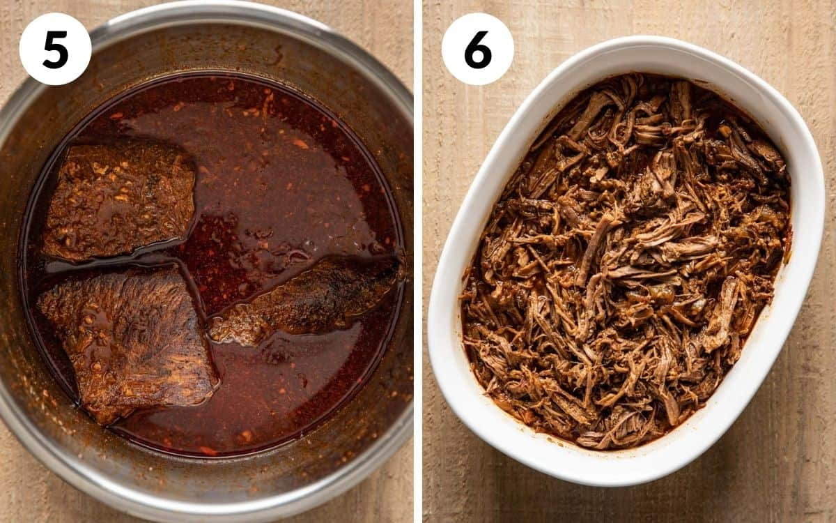 steps 5 & 6 meat in pot after pressure cooking