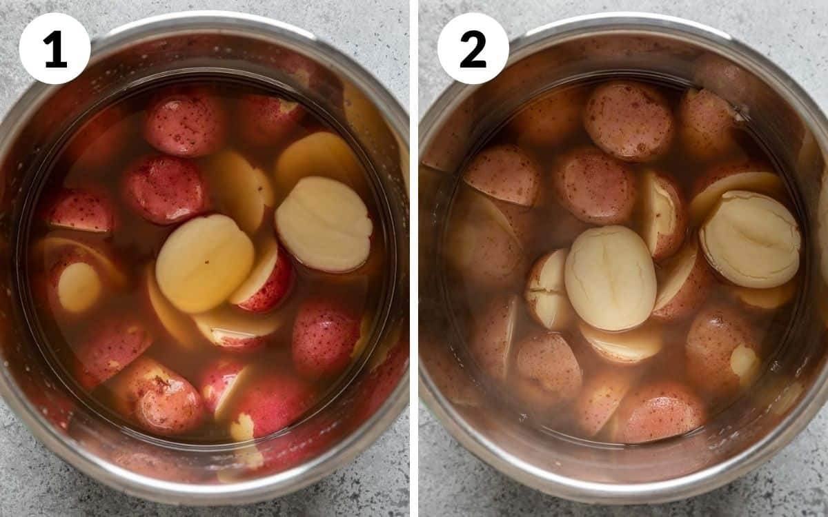 steps 1 & 2 potatoes covered in broth in pot cooked potatoes in pot