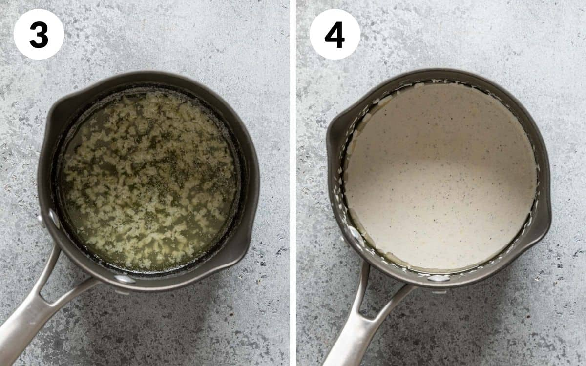 steps 3 & 4 garlic cooked in butter in pot sour cream and half and half stirred in